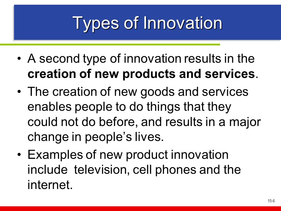 15-6 Types of Innovation A second type of innovation results in the creation of new products and services.
