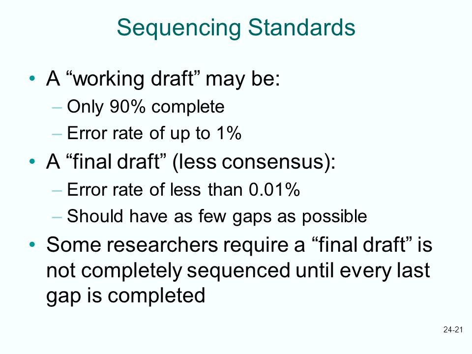 24-21 Sequencing Standards A working draft may be: –Only 90% complete –Error rate of up to 1% A final draft (less consensus): –Error rate of less than