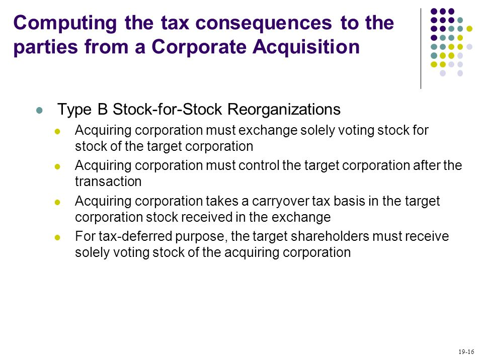 19-16 Type B Stock-for-Stock Reorganizations Acquiring corporation must exchange solely voting stock for stock of the target corporation Acquiring cor
