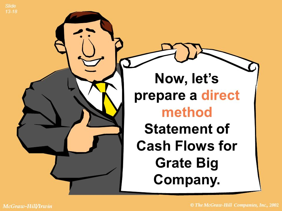 © The McGraw-Hill Companies, Inc., 2002 McGraw-Hill/Irwin Slide 13-18 Now, lets prepare a direct method Statement of Cash Flows for Grate Big Company.
