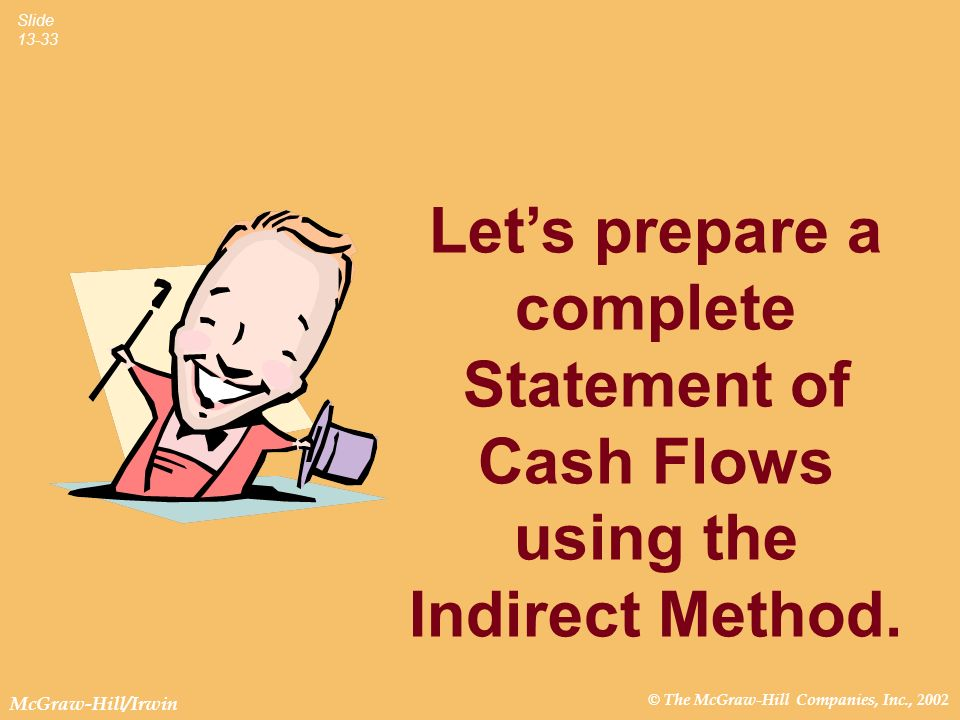 © The McGraw-Hill Companies, Inc., 2002 McGraw-Hill/Irwin Slide 13-33 Lets prepare a complete Statement of Cash Flows using the Indirect Method.