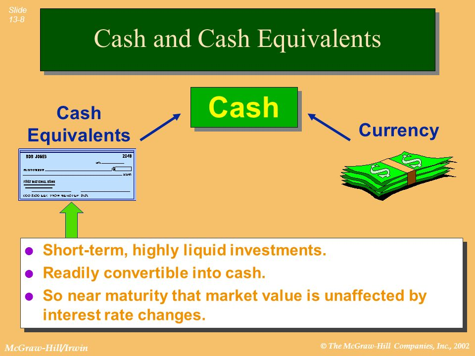 © The McGraw-Hill Companies, Inc., 2002 McGraw-Hill/Irwin Slide 13-8 Cash Equivalents Cash Currency l Short-term, highly liquid investments. l Readily