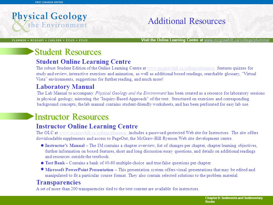 Chapter 9: Sediments and Sedimentary Rocks Visit the Online Learning Centre at www.mcgrawhill.ca/college/plummerwww.mcgrawhill.ca/college/plummer Additional Resources Student Resources Student Online Learning Centre The robust Student Edition of the Online Learning Centre at www.mcgrawhill.ca/college/plummer features quizzes for study and review, interactive exercises and animation, as well as additional boxed readings, searchable glossary, Virtual Vista environments, suggestions for further reading, and much more!www.mcgrawhill.ca/college/plummer Laboratory Manual The Lab Manual to accompany Physical Geology and the Environment has been created as a resource for laboratory sessions in physical geology, mirroring the Inquiry-Based Approach of the text.