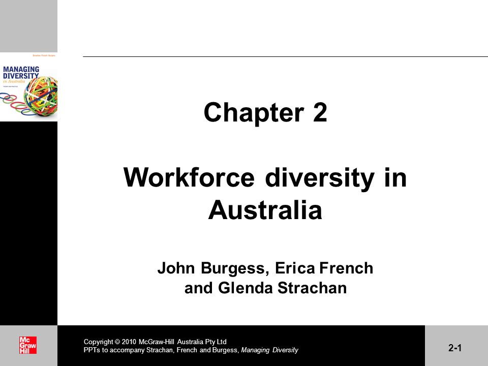 . Copyright 2010 McGraw-Hill Australia Pty Ltd PPTs to accompany Strachan, French and Burgess, Managing Diversity 2-1 Chapter 2 Workforce diversity in Australia John Burgess, Erica French and Glenda Strachan