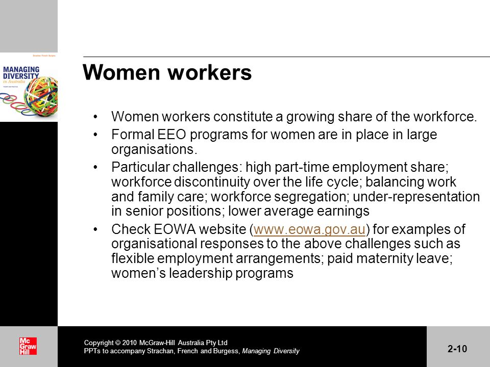 Women workers Women workers constitute a growing share of the workforce.