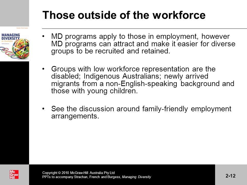 Those outside of the workforce MD programs apply to those in employment, however MD programs can attract and make it easier for diverse groups to be recruited and retained.