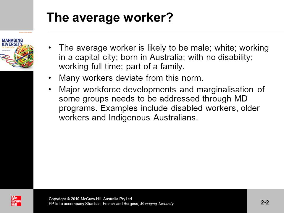 . The average worker? The average worker is likely to be male; white; working in a capital city; born in Australia; with no disability; working full t