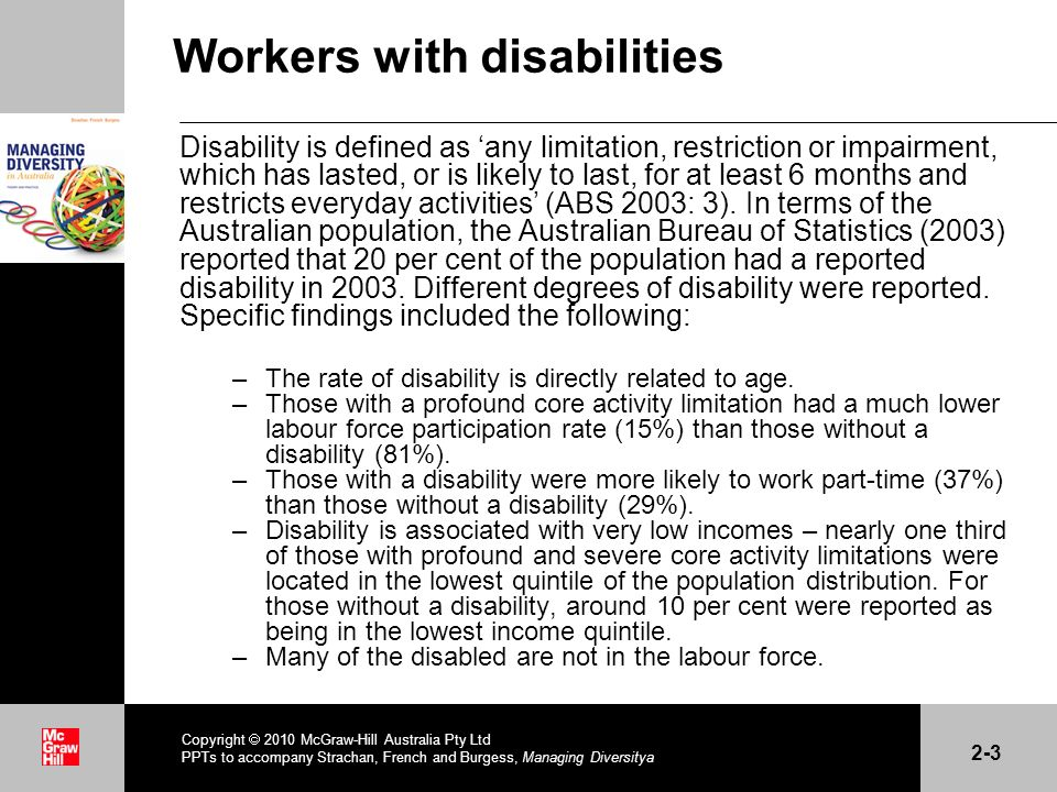 . Workers with disabilities Disability is defined as any limitation, restriction or impairment, which has lasted, or is likely to last, for at least 6