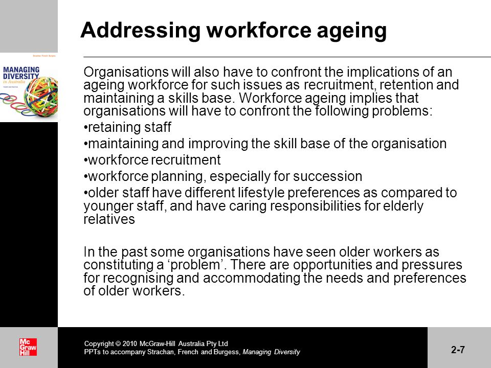 . Addressing workforce ageing Organisations will also have to confront the implications of an ageing workforce for such issues as recruitment, retenti