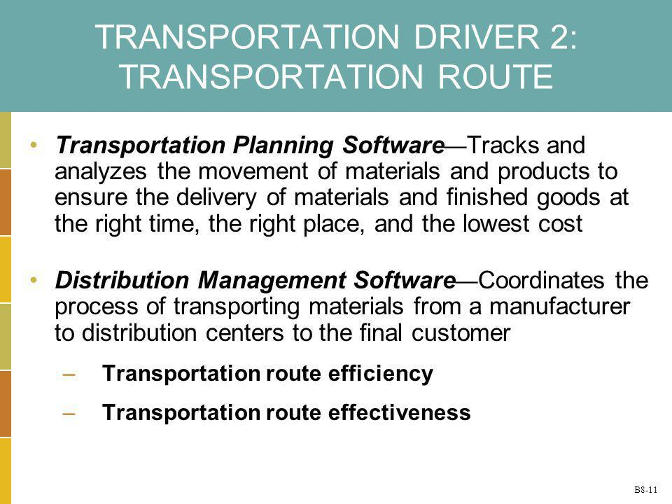B8-11 TRANSPORTATION DRIVER 2: TRANSPORTATION ROUTE Transportation Planning Software Tracks and analyzes the movement of materials and products to ens
