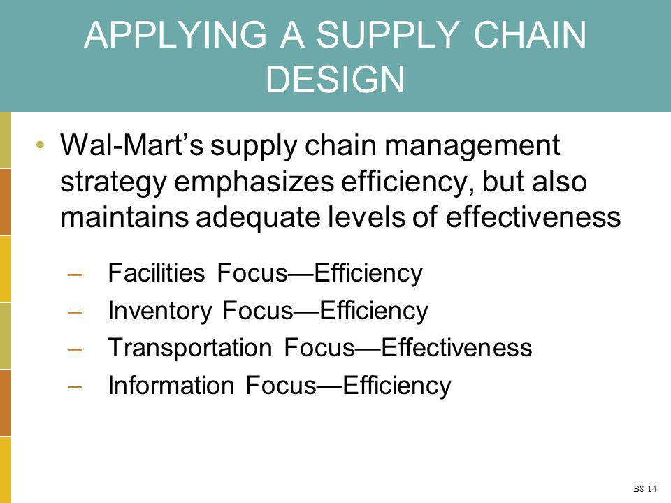 B8-14 APPLYING A SUPPLY CHAIN DESIGN Wal-Marts supply chain management strategy emphasizes efficiency, but also maintains adequate levels of effective