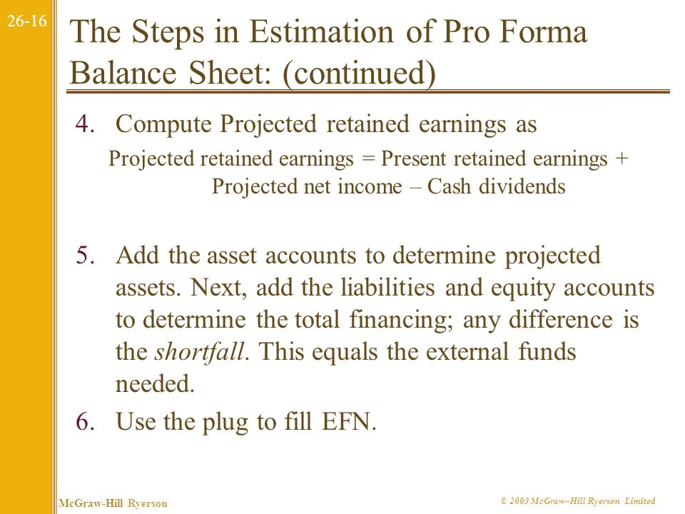 26-15 McGraw-Hill Ryerson © 2003 McGraw–Hill Ryerson Limited The Steps in Estimation of Pro Forma Balance Sheet: 1.Express balance-sheet items that va