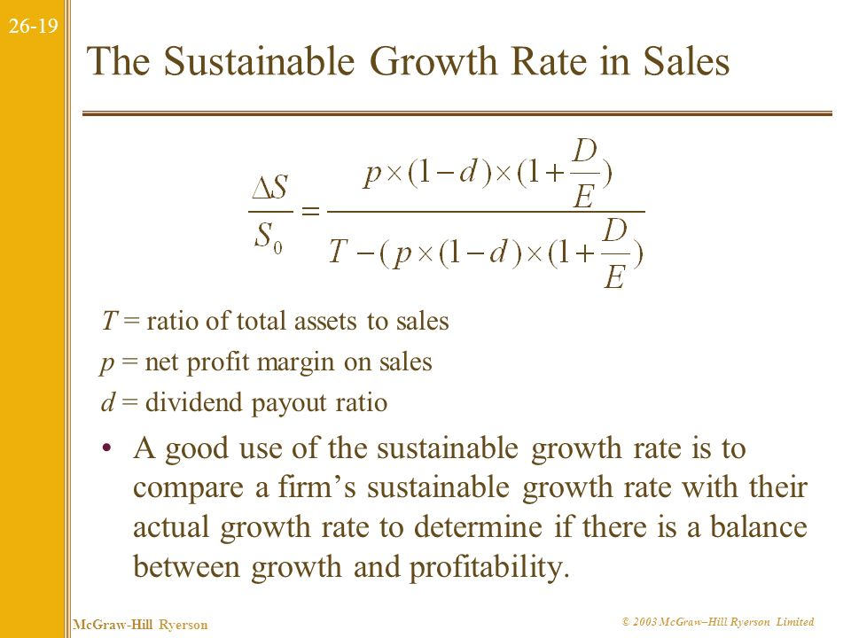 26-18 McGraw-Hill Ryerson © 2003 McGraw–Hill Ryerson Limited 26.3 What Determines Growth? There is a linkage between the ability of a firm to grow and