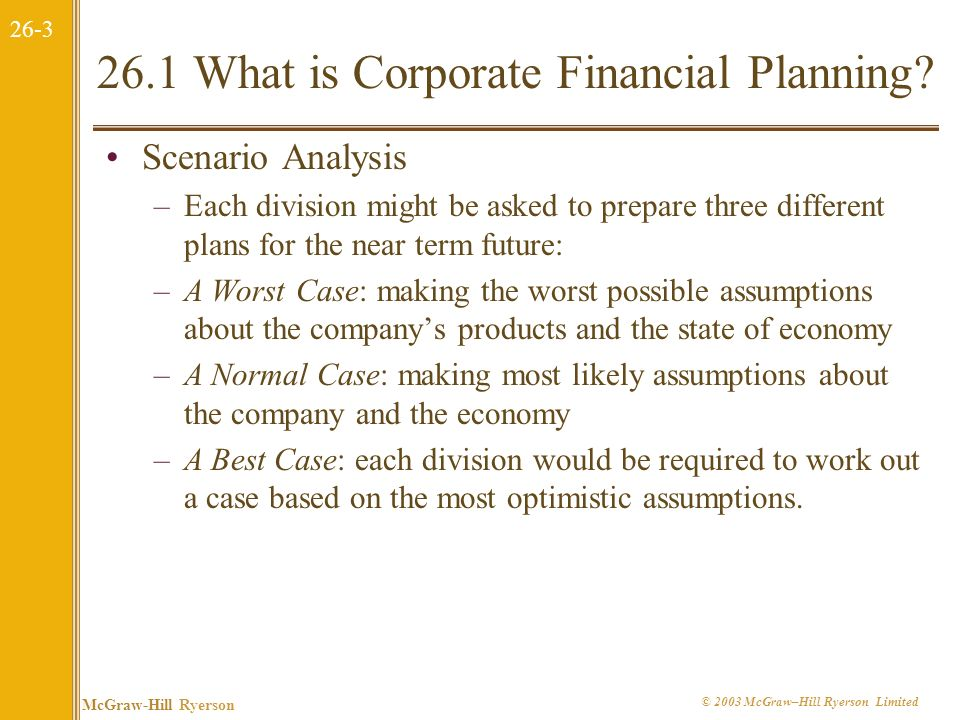 26-2 McGraw-Hill Ryerson © 2003 McGraw–Hill Ryerson Limited 26.1 What is Corporate Financial Planning? It formulates the method by which financial goa