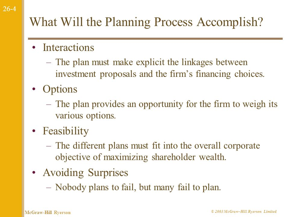 26-3 McGraw-Hill Ryerson © 2003 McGraw–Hill Ryerson Limited 26.1 What is Corporate Financial Planning? Scenario Analysis –Each division might be asked