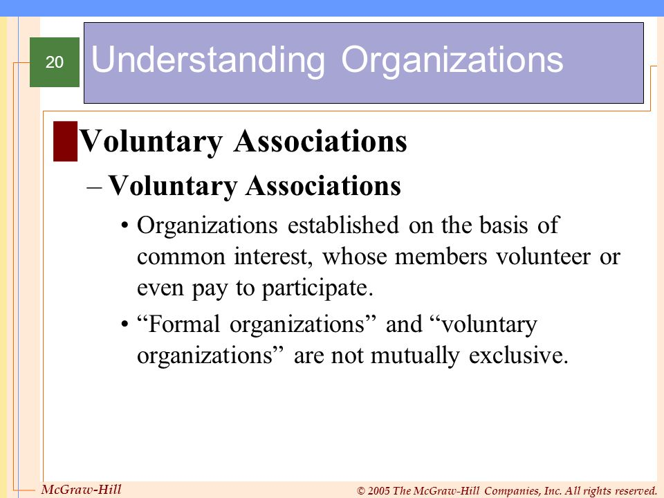 McGraw-Hill © 2005 The McGraw-Hill Companies, Inc. All rights reserved. 20 Understanding Organizations Voluntary Associations –Voluntary Associations
