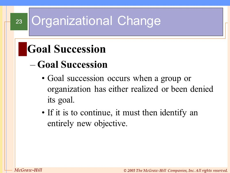 McGraw-Hill © 2005 The McGraw-Hill Companies, Inc. All rights reserved. 23 Organizational Change Goal Succession –Goal Succession Goal succession occu