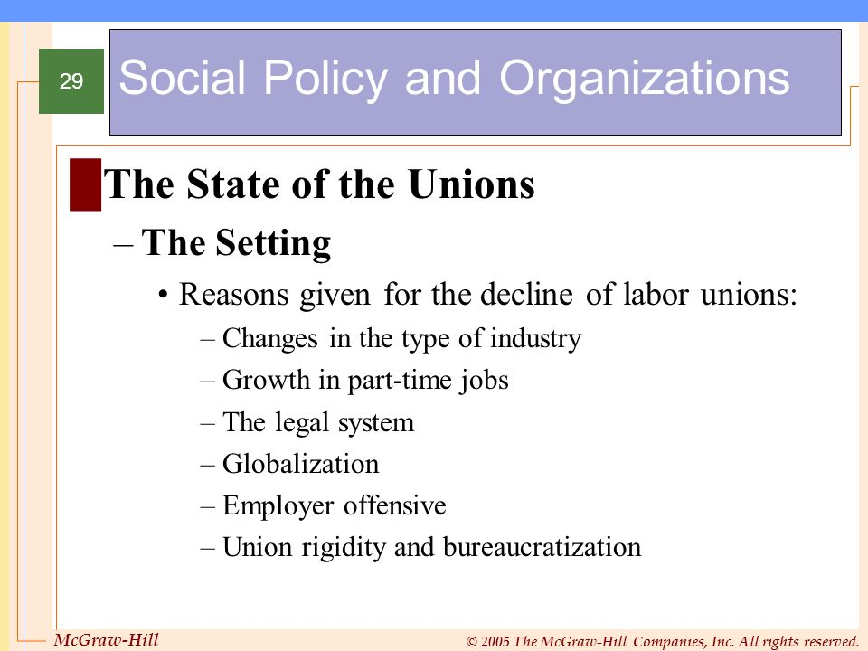 McGraw-Hill © 2005 The McGraw-Hill Companies, Inc. All rights reserved. 29 Social Policy and Organizations The State of the Unions –The Setting Reason