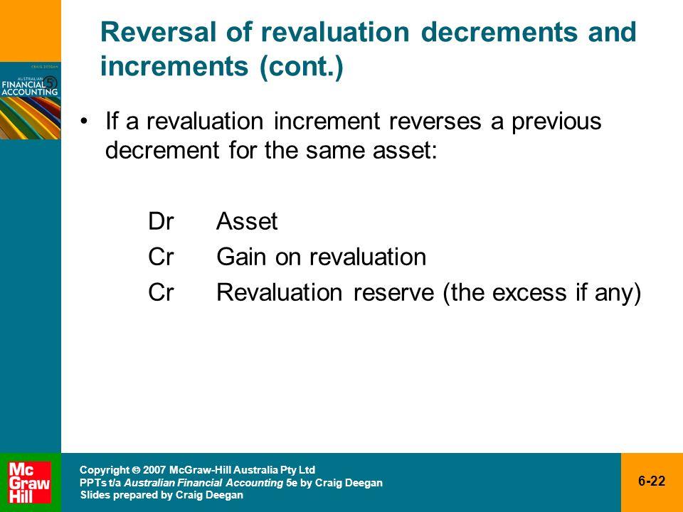6-22 Copyright 2007 McGraw-Hill Australia Pty Ltd PPTs t/a Australian Financial Accounting 5e by Craig Deegan Slides prepared by Craig Deegan Reversal