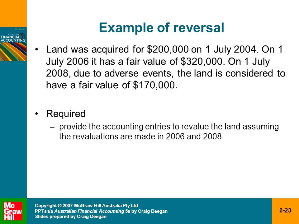 6-23 Copyright 2007 McGraw-Hill Australia Pty Ltd PPTs t/a Australian Financial Accounting 5e by Craig Deegan Slides prepared by Craig Deegan Example