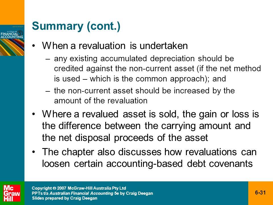 6-31 Copyright 2007 McGraw-Hill Australia Pty Ltd PPTs t/a Australian Financial Accounting 5e by Craig Deegan Slides prepared by Craig Deegan Summary