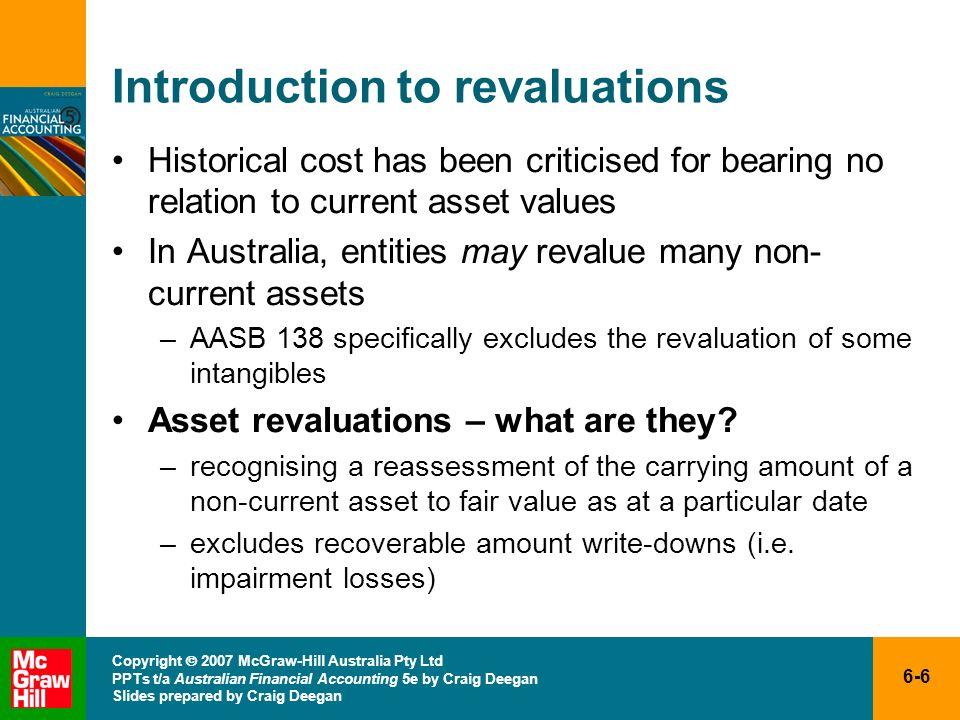 6-6 Copyright 2007 McGraw-Hill Australia Pty Ltd PPTs t/a Australian Financial Accounting 5e by Craig Deegan Slides prepared by Craig Deegan Introduct