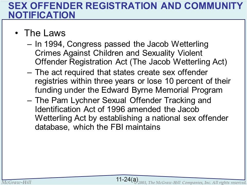 McGraw-Hill © 2003, The McGraw-Hill Companies, Inc. All rights reserved. SEX OFFENDER REGISTRATION AND COMMUNITY NOTIFICATION The Laws –In 1994, Congr
