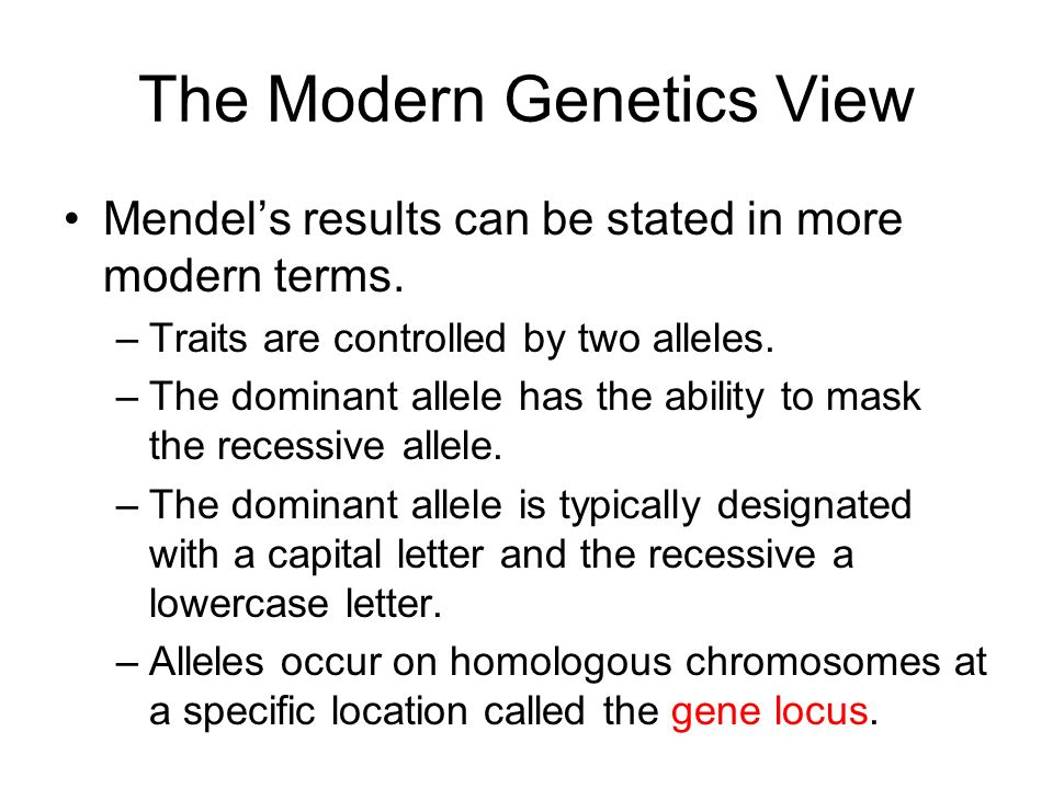 The Modern Genetics View Mendels results can be stated in more modern terms. –Traits are controlled by two alleles. –The dominant allele has the abili