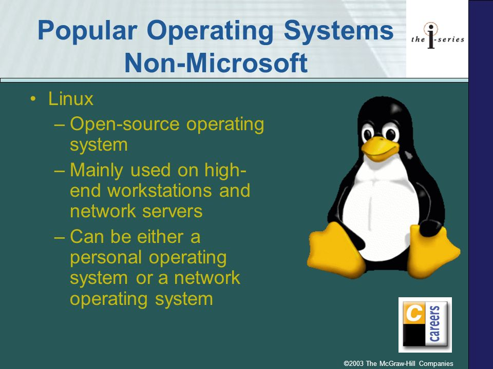 ©2003 The McGraw-Hill Companies Operating Systems - PDAs Two most popular types of PDAs are: –Palm and Handspring Uses the Palm Operating System (Palm OS) –Pocket-PCs.