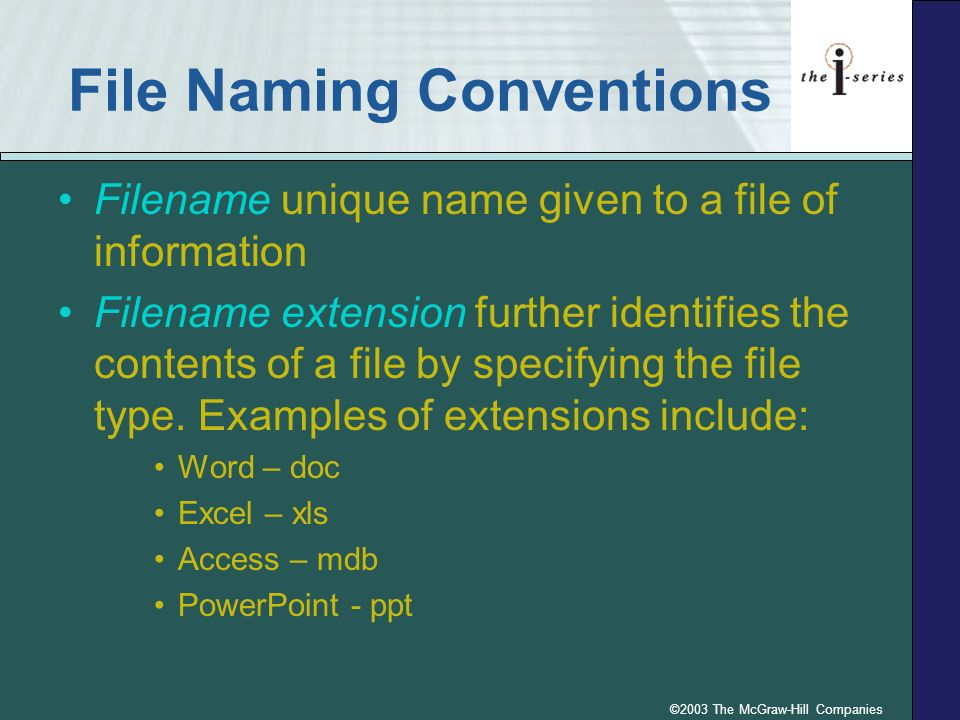©2003 The McGraw-Hill Companies File Naming Convention Rules p.4.110 Fig. 4.11