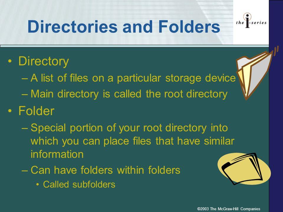 ©2003 The McGraw-Hill Companies Folder Structure Finance 3212 Finance 4032 C:\ Finance p.4.112 Fig.