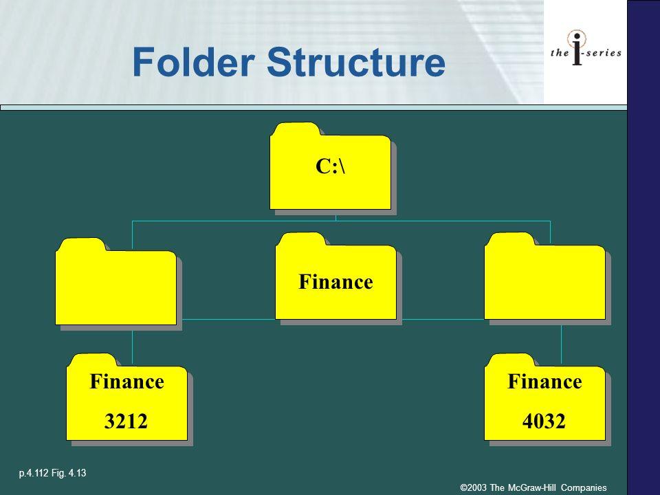 ©2003 The McGraw-Hill Companies Folder Structure Finance 3212 Finance 4032 C:\ Finance p.4.112 Fig. 4.13