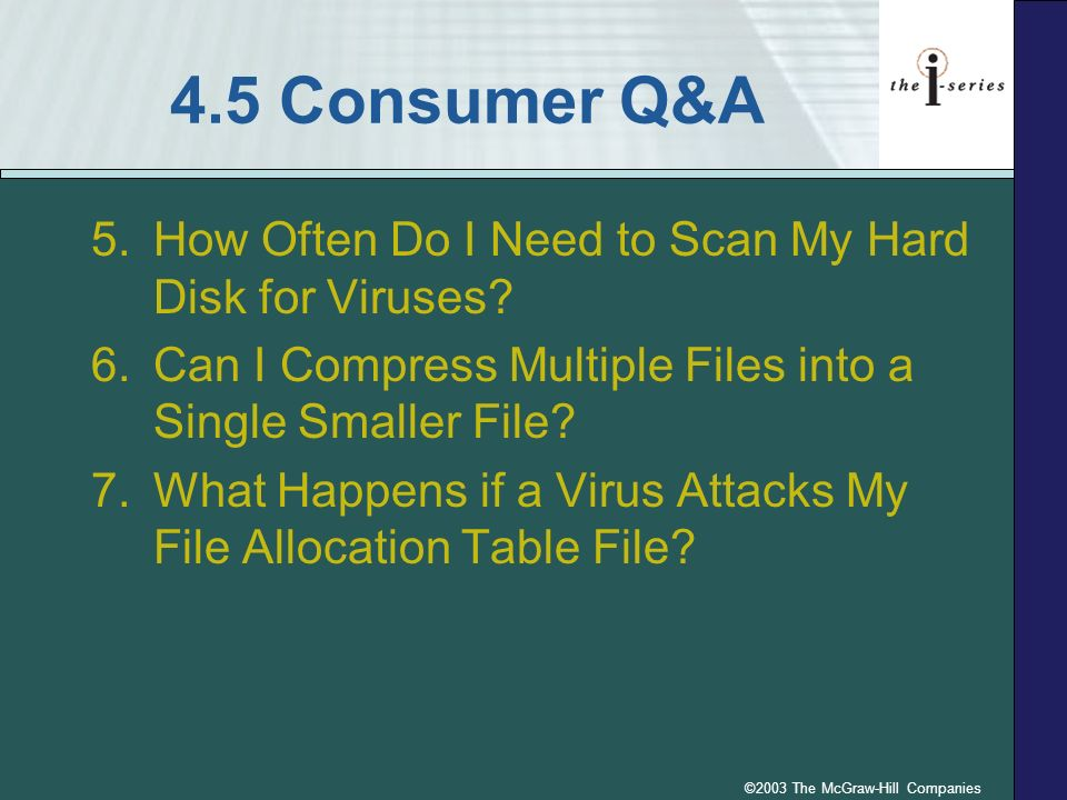 ©2003 The McGraw-Hill Companies 4.5 Consumer Q&A 5.How Often Do I Need to Scan My Hard Disk for Viruses? 6.Can I Compress Multiple Files into a Single