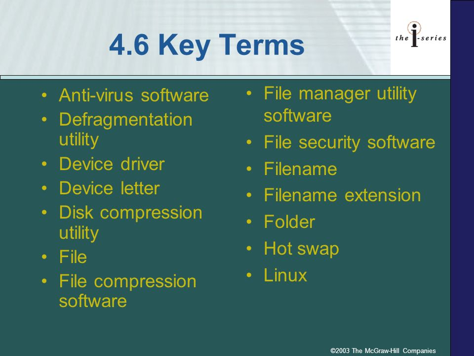 4.6 Key Terms Anti-virus software Defragmentation utility Device driver Device letter Disk compression utility File File compression software File man