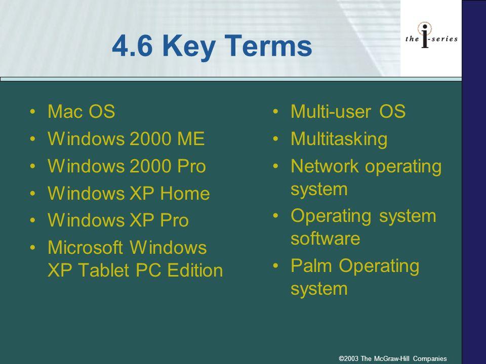 ©2003 The McGraw-Hill Companies 4.6 Key Terms Mac OS Windows 2000 ME Windows 2000 Pro Windows XP Home Windows XP Pro Microsoft Windows XP Tablet PC Ed
