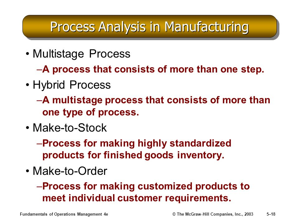 Fundamentals of Operations Management 4e© The McGraw-Hill Companies, Inc., 20035–18 Process Analysis in Manufacturing Multistage Process –A process th