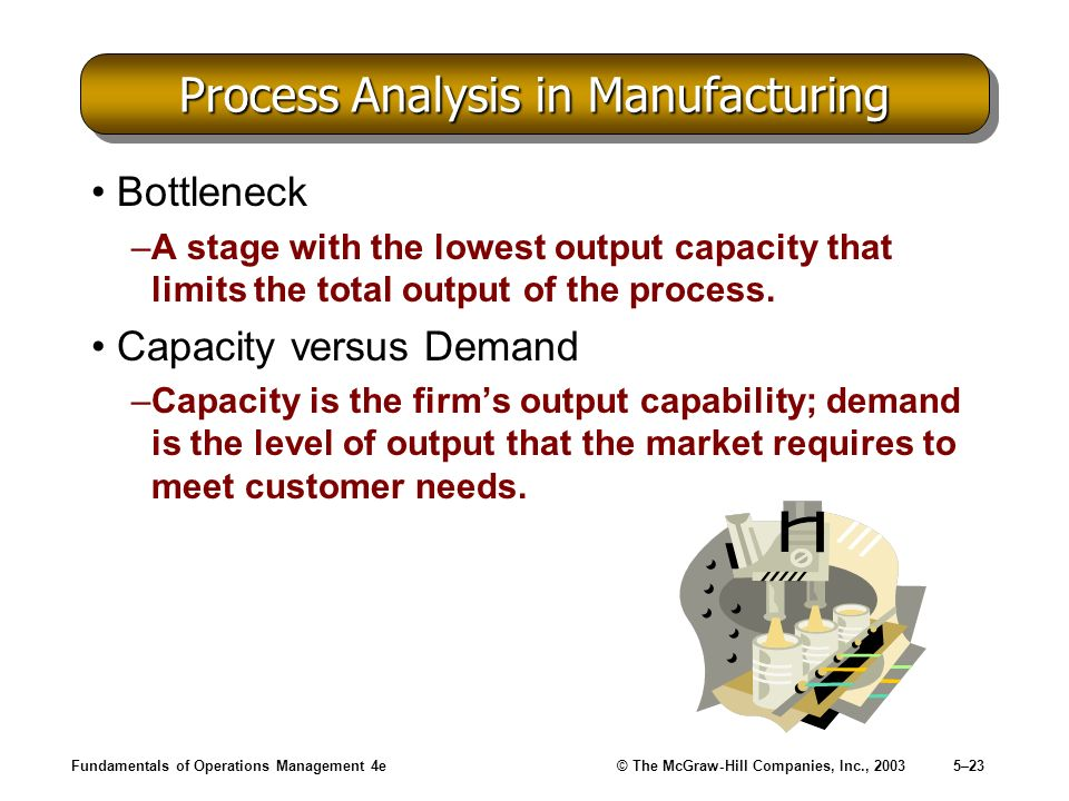Fundamentals of Operations Management 4e© The McGraw-Hill Companies, Inc., 20035–23 Process Analysis in Manufacturing Bottleneck –A stage with the low