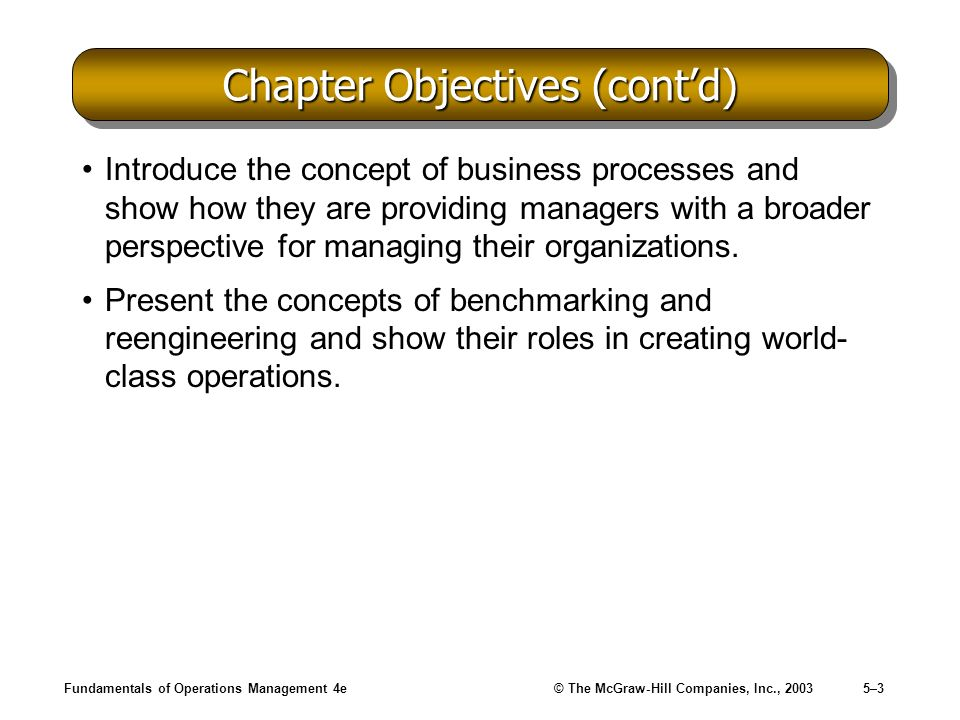 Fundamentals of Operations Management 4e© The McGraw-Hill Companies, Inc., 20035–34 Business Process Analysis (contd) Map the Process –Develop a process flow chart to provide a visual context for analyzing the process: Specific ordering of the process steps Length of time each step takes Resources required by each step Cross-functional relationships Granularity –Describes the level of detail that is used in analyzing a process.