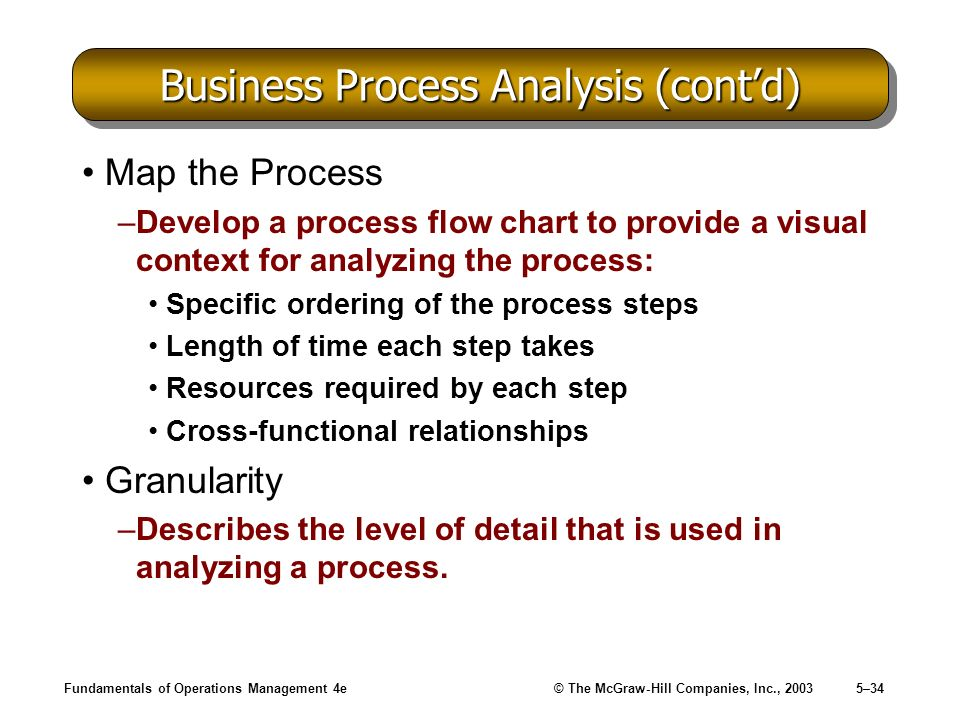 Fundamentals of Operations Management 4e© The McGraw-Hill Companies, Inc., 20035–34 Business Process Analysis (contd) Map the Process –Develop a proce
