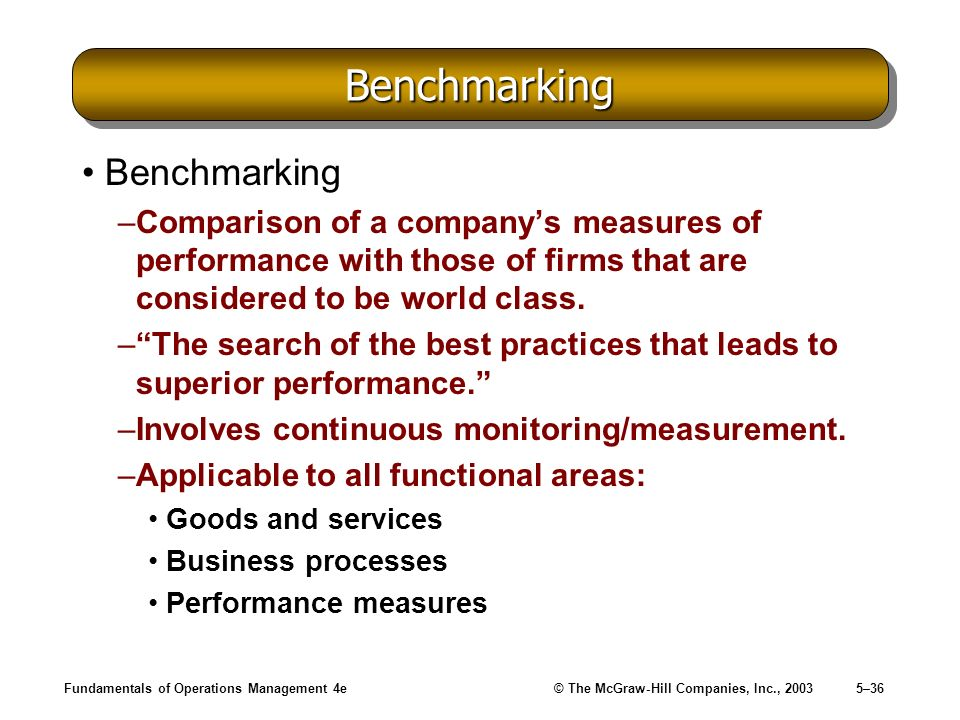 Fundamentals of Operations Management 4e© The McGraw-Hill Companies, Inc., 20035–36 BenchmarkingBenchmarking Benchmarking –Comparison of a companys me