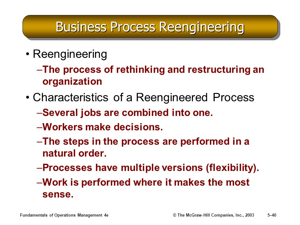 Fundamentals of Operations Management 4e© The McGraw-Hill Companies, Inc., 20035–40 Business Process Reengineering Reengineering –The process of rethi