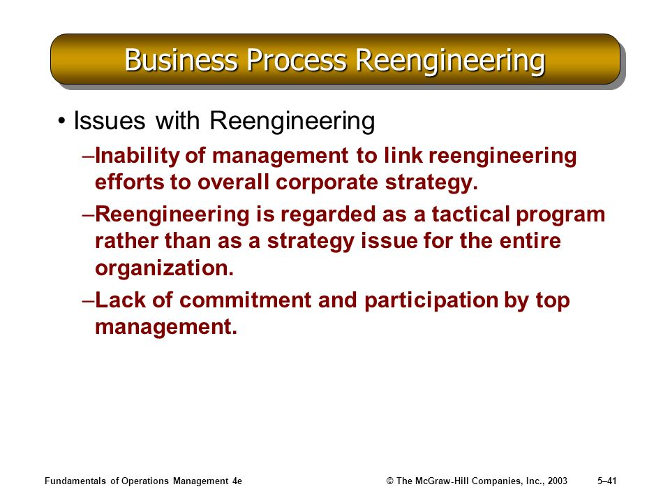 Fundamentals of Operations Management 4e© The McGraw-Hill Companies, Inc., 20035–41 Business Process Reengineering Issues with Reengineering –Inabilit