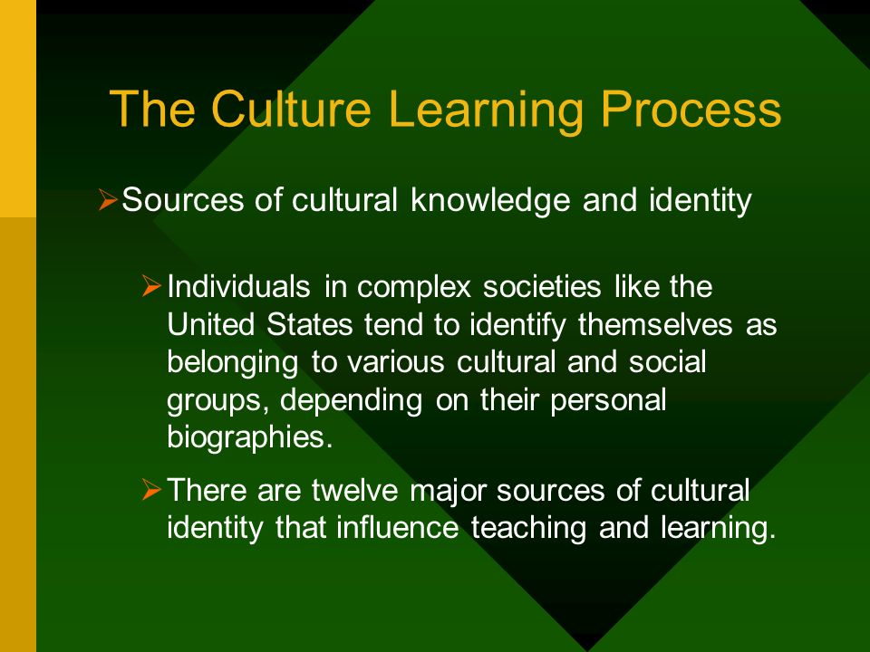 The Culture Learning Process Sources of cultural knowledge and identity Individuals in complex societies like the United States tend to identify thems