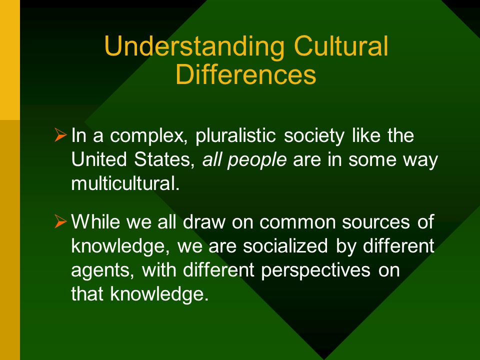 Understanding Cultural Differences In a complex, pluralistic society like the United States, all people are in some way multicultural. While we all dr