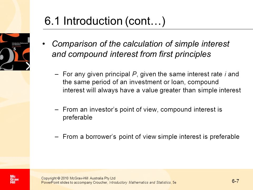 6-7 Copyright 2010 McGraw-Hill Australia Pty Ltd PowerPoint slides to accompany Croucher, Introductory Mathematics and Statistics, 5e 6.1 Introduction