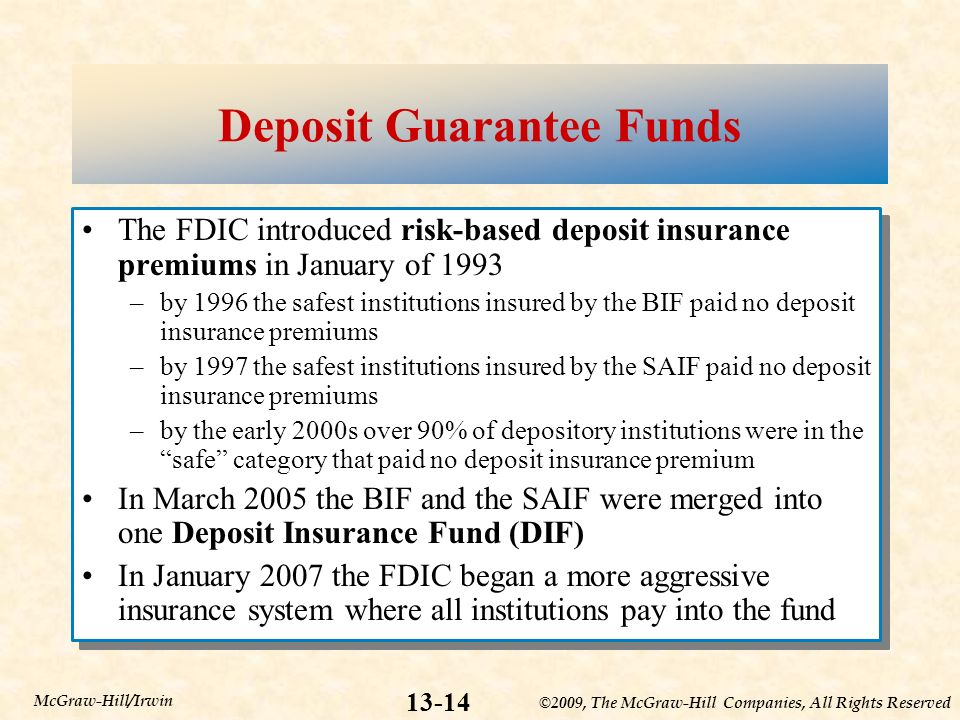 ©2009, The McGraw-Hill Companies, All Rights Reserved McGraw-Hill/Irwin Deposit Guarantee Funds The FDIC introduced risk-based deposit insurance premiums in January of 1993 –by 1996 the safest institutions insured by the BIF paid no deposit insurance premiums –by 1997 the safest institutions insured by the SAIF paid no deposit insurance premiums –by the early 2000s over 90% of depository institutions were in the safe category that paid no deposit insurance premium In March 2005 the BIF and the SAIF were merged into one Deposit Insurance Fund (DIF) In January 2007 the FDIC began a more aggressive insurance system where all institutions pay into the fund The FDIC introduced risk-based deposit insurance premiums in January of 1993 –by 1996 the safest institutions insured by the BIF paid no deposit insurance premiums –by 1997 the safest institutions insured by the SAIF paid no deposit insurance premiums –by the early 2000s over 90% of depository institutions were in the safe category that paid no deposit insurance premium In March 2005 the BIF and the SAIF were merged into one Deposit Insurance Fund (DIF) In January 2007 the FDIC began a more aggressive insurance system where all institutions pay into the fund