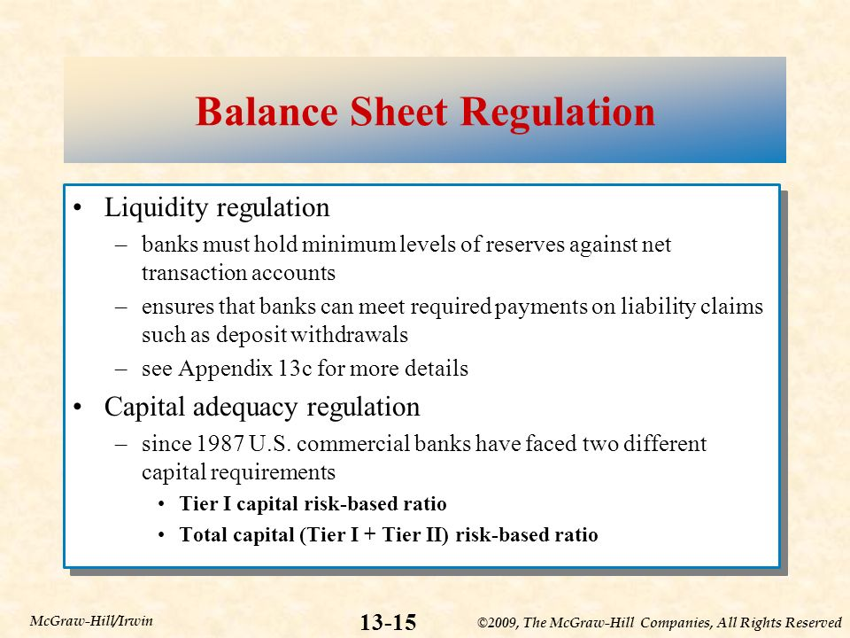 ©2009, The McGraw-Hill Companies, All Rights Reserved McGraw-Hill/Irwin Balance Sheet Regulation Liquidity regulation –banks must hold minimum levels of reserves against net transaction accounts –ensures that banks can meet required payments on liability claims such as deposit withdrawals –see Appendix 13c for more details Capital adequacy regulation –since 1987 U.S.