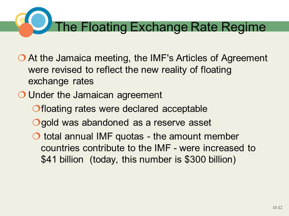 10-12 The Floating Exchange Rate Regime At the Jamaica meeting, the IMF's Articles of Agreement were revised to reflect the new reality of floating ex