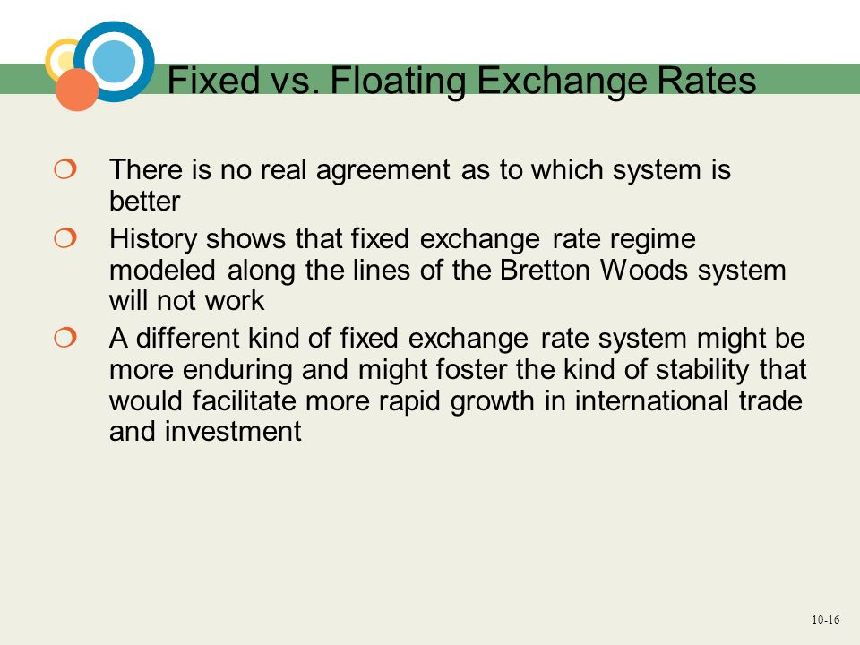 10-16 Fixed vs. Floating Exchange Rates There is no real agreement as to which system is better History shows that fixed exchange rate regime modeled