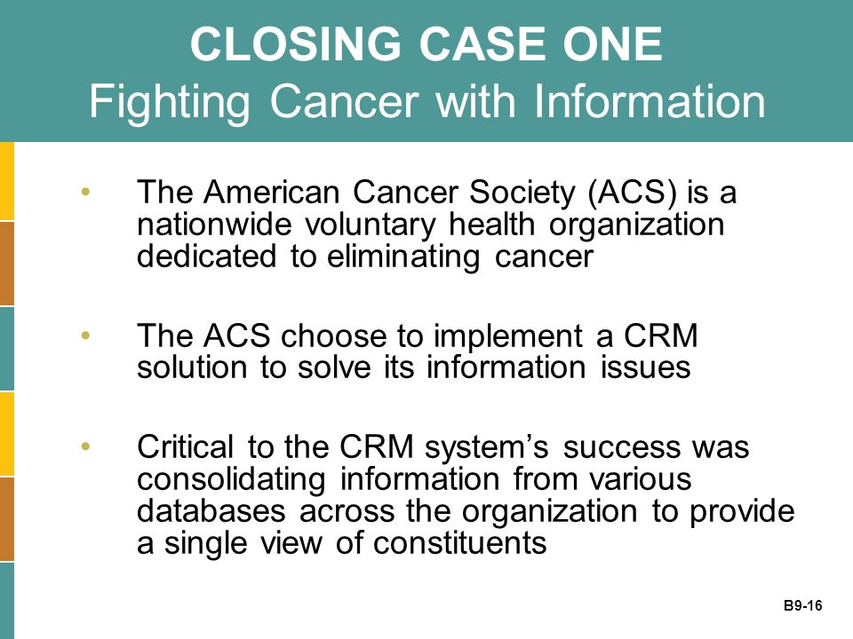 B9-16 CLOSING CASE ONE Fighting Cancer with Information The American Cancer Society (ACS) is a nationwide voluntary health organization dedicated to e